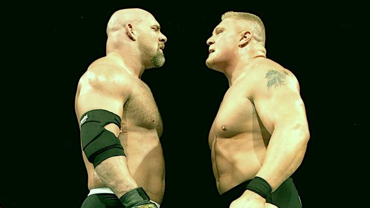 Goldberg (left) and Brock Lesnar (lright) square off at WrestleMania XX. Photo credit: WWE.com