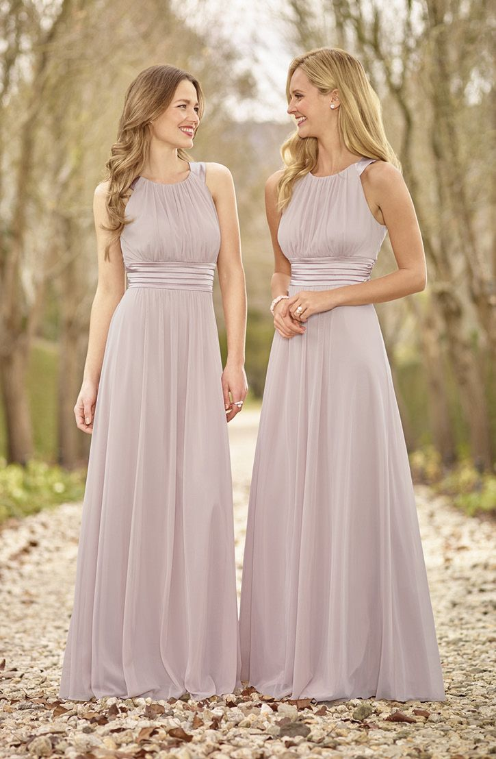 Lilac Purple Bridesmaid Dresses: high twist chiffon & stretch, floor length skirt with pleats.