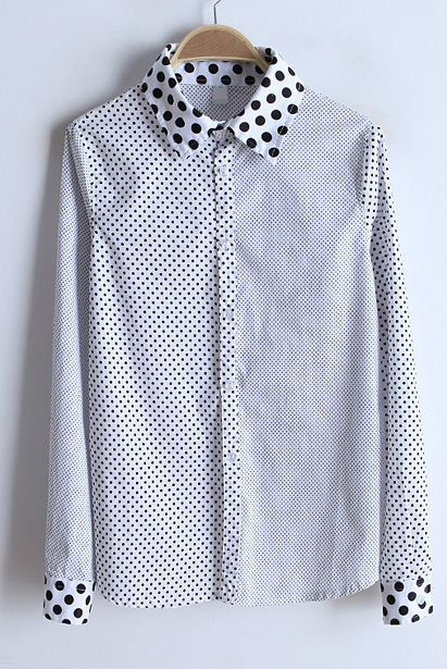 White Polka Dot Lapel Plaid Long Sleeve Blouse - Sheinside.com #sheinside