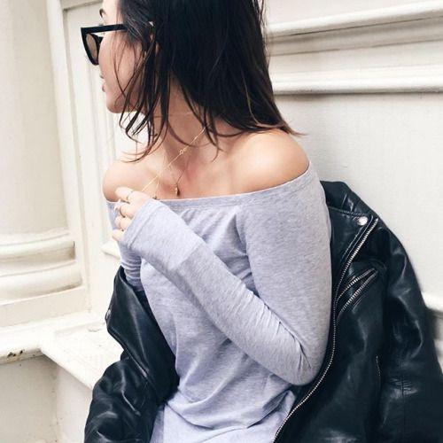 Off the shoulder #grey #leatherjacket