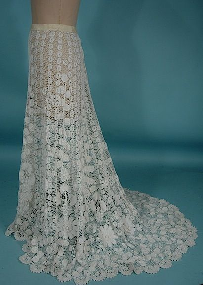 White Irish Crochet Trained Skirt   c.1905  -  Antique & Vintage Dress Gallery
