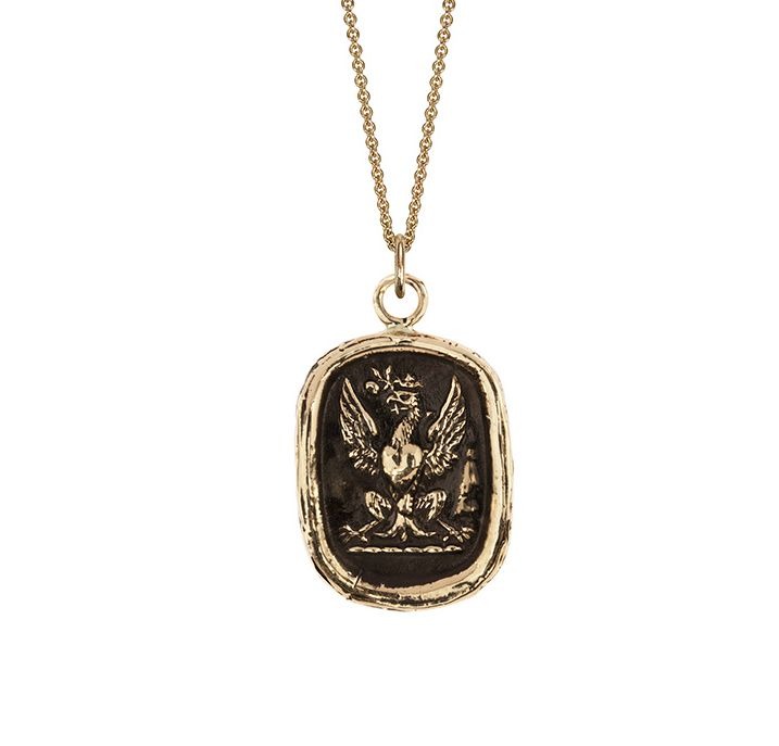 Follow your dreams 14k #gold #Talisman - This talisman features an #eagle with wings spread, symbolic of the #freedom obtained by following your #dreams. The #rose signifies the #passion that is ignited by doing what you were meant to do.