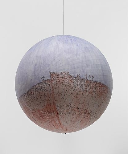 Russel Crotty: Watch The Dolphins Play (2007)  Ink And Watercolor On Paper On Fiberglass Sphere   24h x 24w x 24d in (60.96h x 60.96w x 60.96d cm)