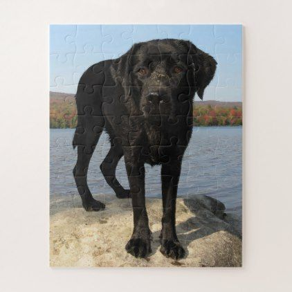 Life's a Beach - Black Labrador Jigsaw Puzzle - black gifts unique cool diy customize personalize