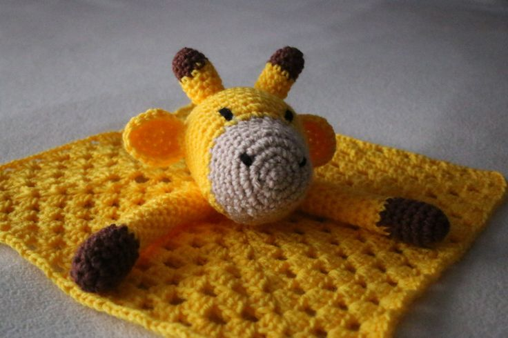 Crocheted Giraffe Lovey Blanket. Yellow, Brown, Grey and Black.  Crochet Baby Blanket - Baby Lovey Blanket  - Baby Shower Gift by DelightGalleryCrafts on Etsy