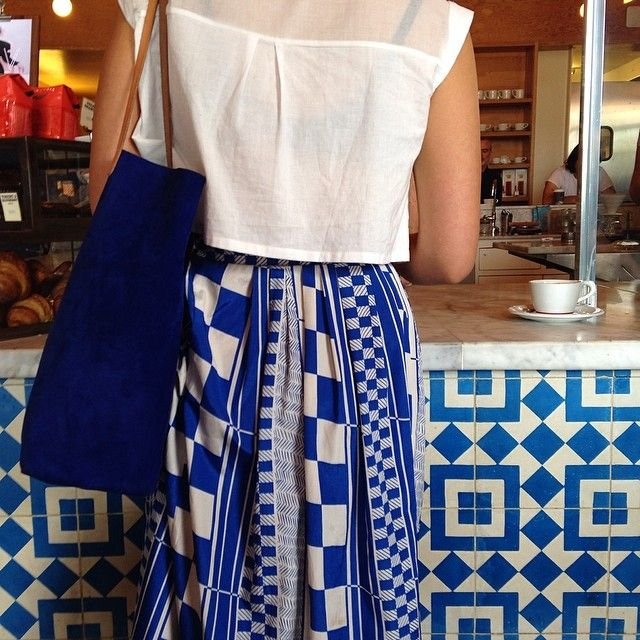 Blue and white vintage skirt - More like them at ELVintage on Etsy