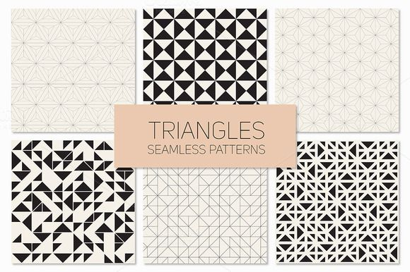 Triangles. Seamless Patterns. Set 4 by Curly_Pat on @creativemarket