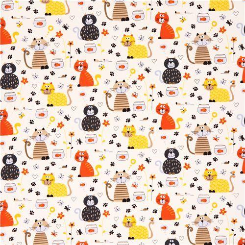 cream cat goldfish fabric by Timeless Treasures USA - Animal Fabric - Fabric - kawaii shop modeS4u