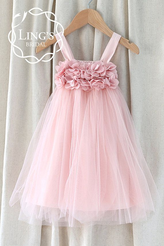 Pink/Dusty Rose Tulle Flower Girl Dress-Strap Baby by LingsBridal