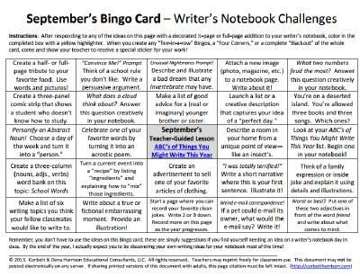 The three pins that follow this one are student samples inspired by our September Bingo Card's center square lesson.  You can freely use our August & September cards from this 10-card set of monthly bingo cards for writers here: https://www.teacherspayteachers.com/Product/10-Writers-Notebook-Bingo-Cards-2180157