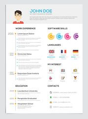 Flat Resume with Infographics