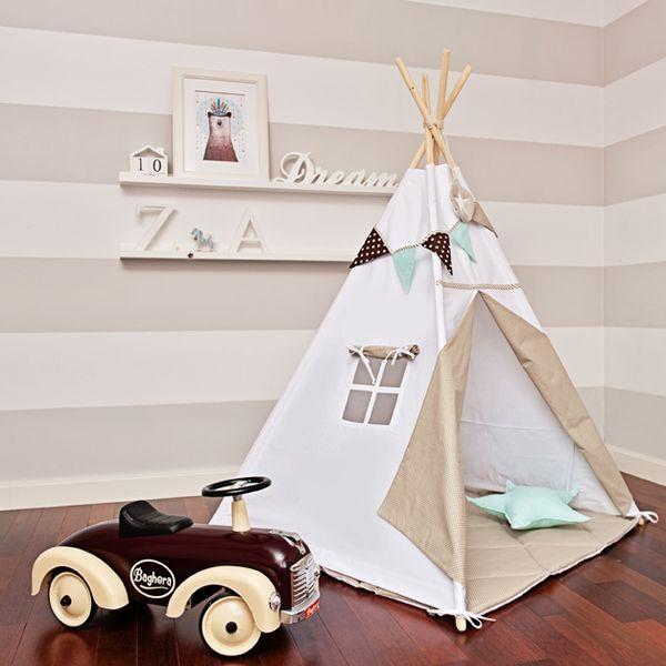"""Kinderzimmerdekoration - Tipi """"Skandinavisches Weiß"""" - ein Designerstück von…"""