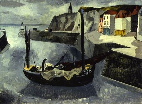 The Quay, Dieppe, France (1929) by Christopher Wood, Aberdeen Art Gallery