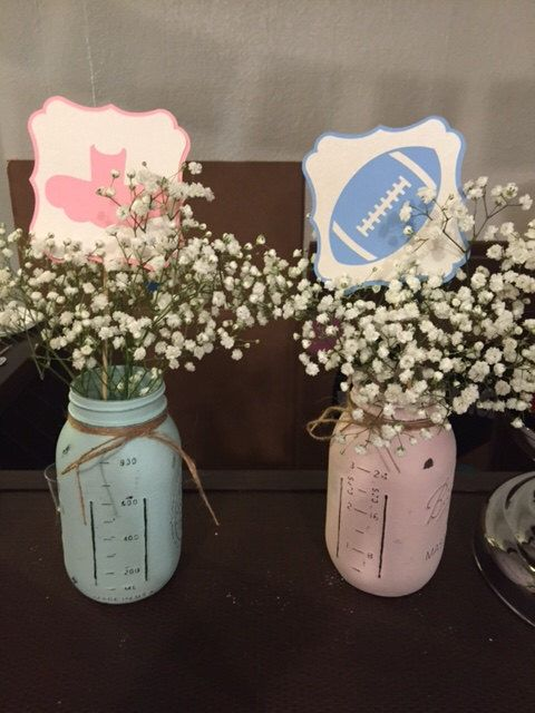 6 Gender Reveal Centerpiece Sticks, Football Centerpiece Sticks, Tutu Centerpiece Sticks, Gender Reveal Party, Football or Tutu by PaperlyEverAfterShop on Etsy https://www.etsy.com/listing/288768097/6-gender-reveal-centerpiece-sticks