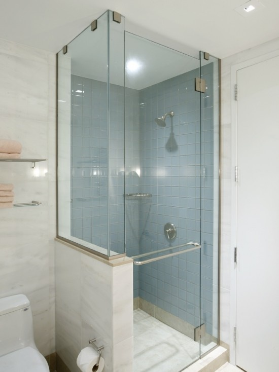 Shower with half glass wall interior bathrooms pinterest for Half wall shower glass
