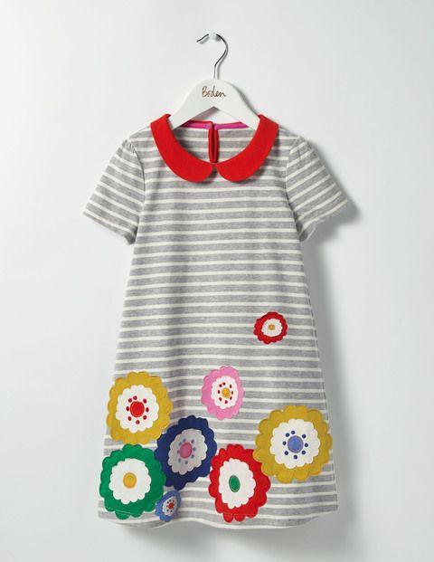 Fun Appliqué Jersey Dress (Grey Marl/Ecru Flowers)