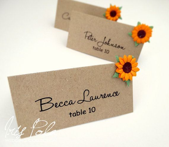 ECO, Paper Sunflower, Barn Wedding, Burlap, Country, Wedding Place Name Cards, Guest Signs, Table Reception    The listing consists of:    - one wedding
