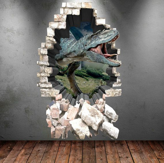 Dinosaur wall decal 3d dinosaur t rex wall art sticker for Sticker mural 3d