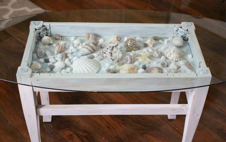 sea shell shadow box table Our Crafty Mom                                                                                                                                                                                 More