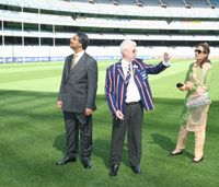 An MCG Tour takes in a walk on the famous arena turf.