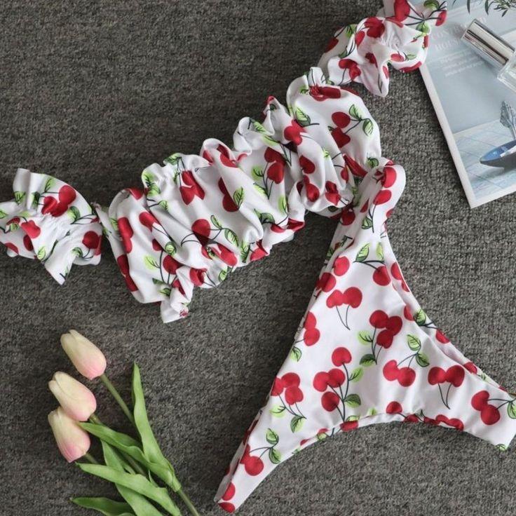 New swimsuit 2020 ladies cherry printed pleated bikini