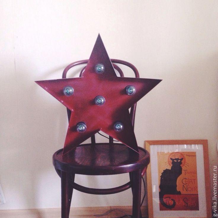 Купить Светильник звезда - бордовый, ретро, винтажные буквы, лампа, светильники, звезда, американский стиль