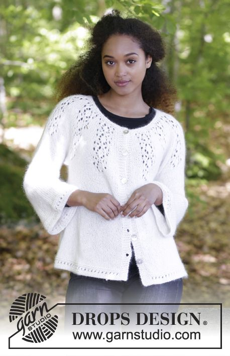 Nineveh - Knitted jacket with round yoke, lace pattern and A-shape, worked top down. Sizes S - XXXL. The piece is worked in DROPS Baby Merino and DROPS Kid-Silk. Free knitted pattern DROPS 179-7