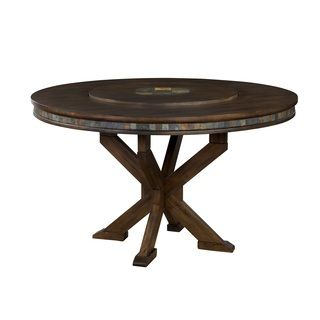 sunny designs savannah inch round table with lazy susan