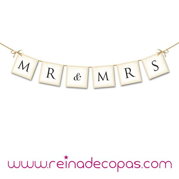 Preciosa Guirnalda para Bodas con las letras MR & MR. http://www.reinadecopas.com/es/photocall/361-guirnalda-mr-and-mr-.html