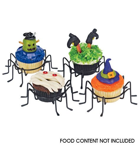 """Serve up your sweet treats with a dash of frightful fun. Set of 4. Each, 5"""" H x 5"""" W x 1 1/2"""" diam. Iron."""