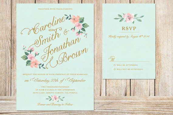 Printable Wedding Invitation and RSVP Card (mint background with blush pink & peach flowers ...