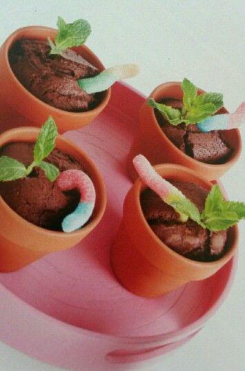 Traktatie voor school. Terracotta potje gevuld met een chocolade muffin en daar een zure worm in steken en een muntblaadje. Ook leuk om de naam van het kind op het potje te schrijve