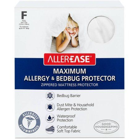 AllerEase Maximum Allergy ; Bed Bug Protection Zippered Mattress Protector, White