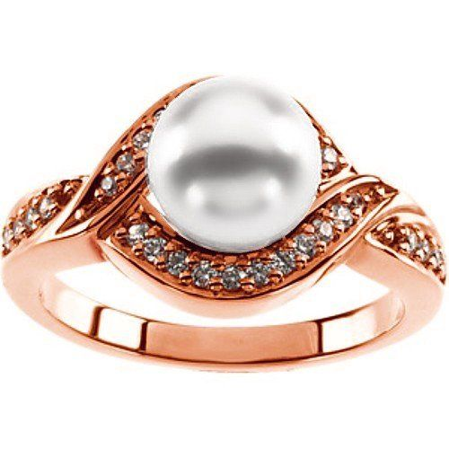 """18K Rose Gold Akoya Cultured Pearl and Diamond Ring - 7.50mm Gems-is-Me. $1828.86. This item will be gift wrapped in a beautiful gift bag. In addition, a """"gift message"""" can be added.. Free Priority Shipping."""