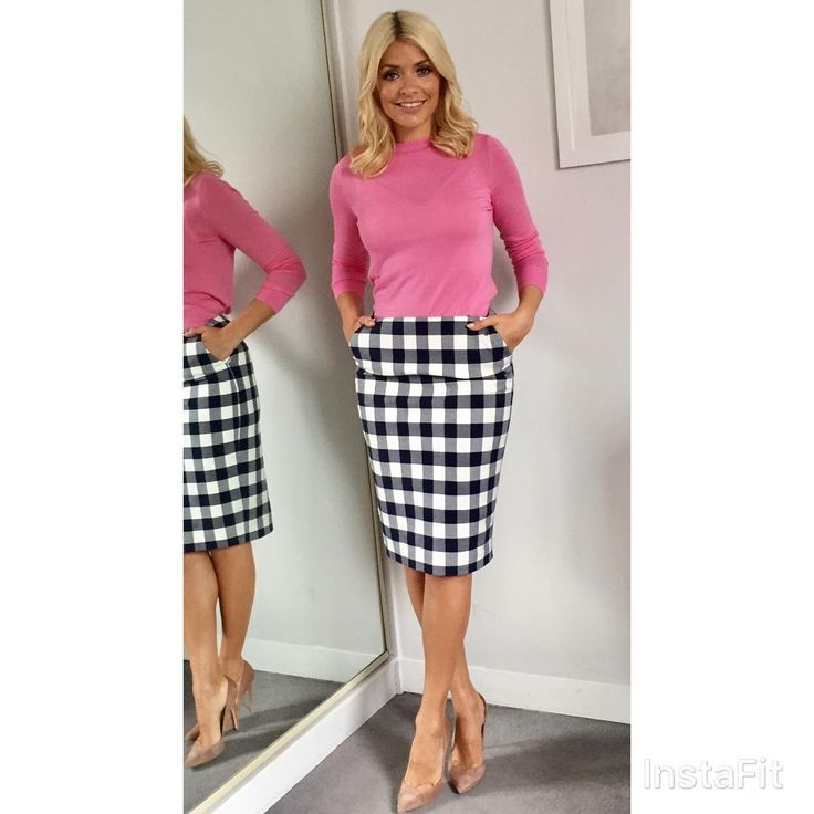 "26k Likes, 140 Comments - Holly Willoughby (@hollywilloughby) on Instagram: ""Morning! Think pink today... @thismorning skirt by @hobbsvip and jumper by @warehouseuk shoes by…"""