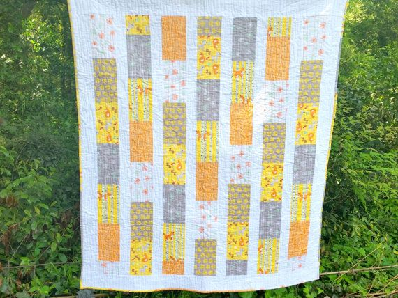 Woodland Baby Quilt- Gender Neutral Quilt- Riley Blake Good Natured- Yellow, Orange, Grey- Nursery Bedding- Toddler- Boy Quilt- Girl Quilt