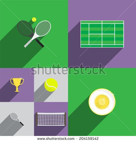 Tennis Icon Set in Flat Style with Rackets, Court, Cup, Trophy, Ball and Net. Vector Illustration - stock vector