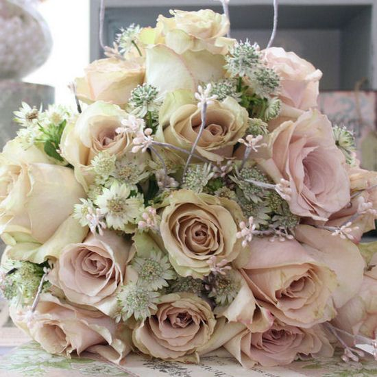 Vintage Floral Wedding Bouquets : Vintage sahara and quicksand roses astrantia bouquet