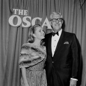 Debbie Reynolds with her second husband Harry Karl at the 1966 Academy Awards in Los Angeles