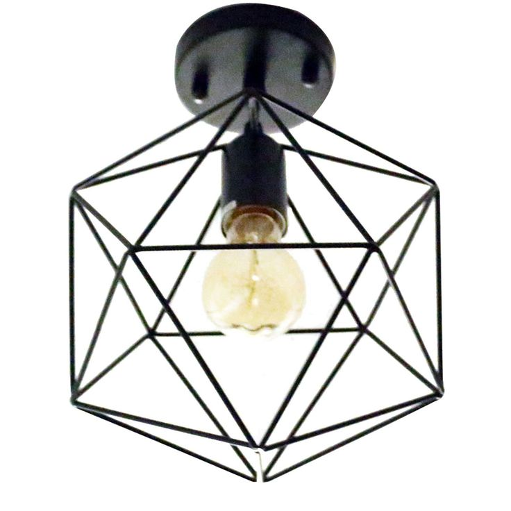Unitary Brand Antique Black Metal Cage Shade Semi Flush Mount Ceiling Light with 1 E26 Bulb Socket 40W Painted Finish