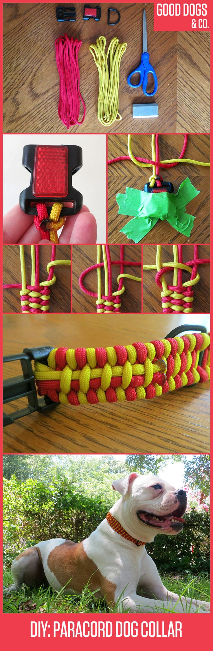 How to braid a paracord survival collar for your dog! Too cool sooo doing this
