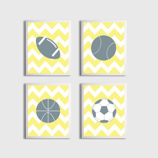 Nursery Sports Football Basketball Baseball Art Chevron Boy Girl Yellow Grey Kids Room customizable set of 3 wall art prints each 11x14