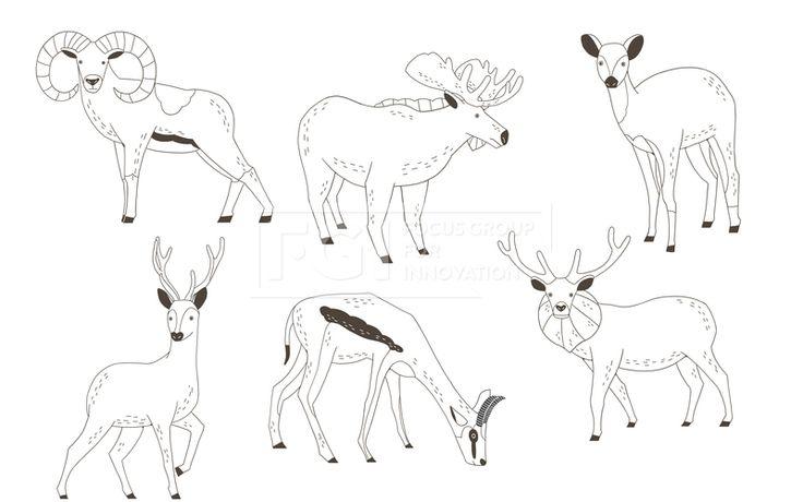 SPAI148, 프리진, 일러스트, SPAI148a, 동물, 에프지아이, 라인, 사슴, 숫사슴, 암사슴, 꽃사슴, 가젤, 엘크, 무플런, 일러스트, illust, illustration #유토이미지 #프리진 #utoimage #freegine  19952204