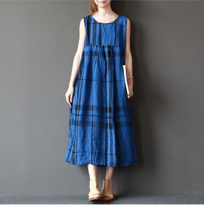 Women cotton linen loose fitting summer dress