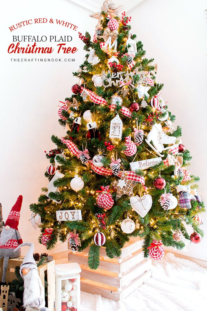 Rustic Red And White Buffalo Plaid Christmas Tree Plaid Christmas Types Of Christmas Trees Traditional Christmas Tree