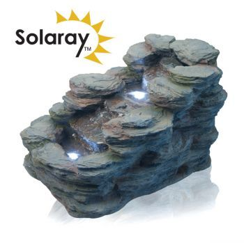 Stoneywell Rock Cascade Water Feature with Lights by Solaray™ L52.5cm