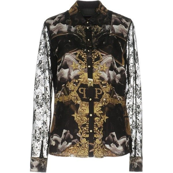 Philipp Plein Shirt ($300) ❤ liked on Polyvore featuring tops, black, multi colored long sleeve shirt, philipp plein shirt, long sleeve lace top, multicolor shirt and extra long sleeve shirts