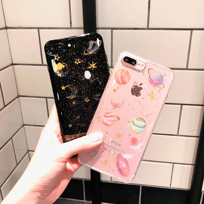 itGirl Shop TRANSPARENT SILICONE PLANETS GLITTER IPHONE CASE Aesthetic Apparel, Tumblr Clothes, Soft Grunge, Pastel goth, Harajuku fashion. Korean and Japan Style looks #iphone6splus, #GlitterTumblr