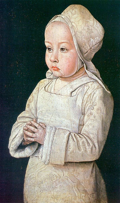 Jean Hay (Master of Moulins),Flemish Northern Renaissance Painter, Suzanne of Bourbon (Child at Prayer), wood