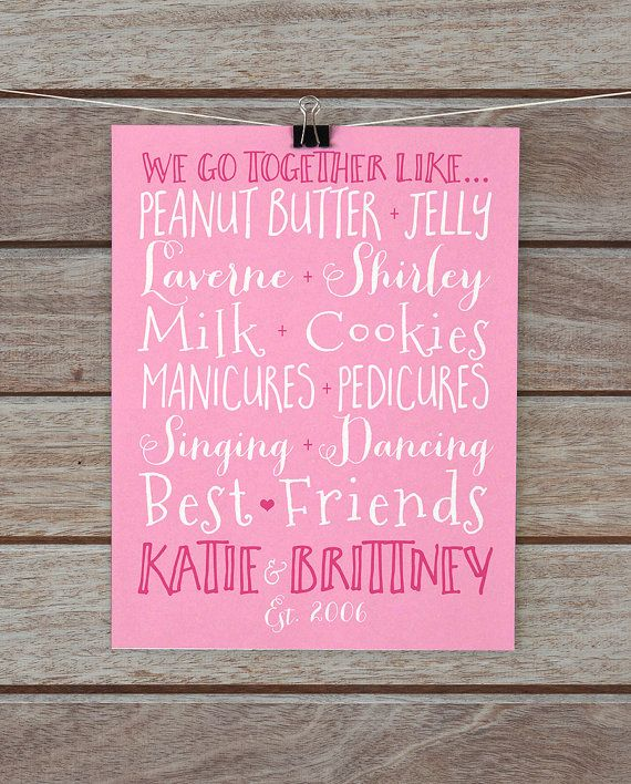 Best Friend Gift, Custom Pairs Present for Friends, Sister ...